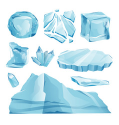 Set isolated ice caps snowdrifts and icicles eleme vector
