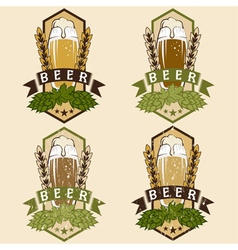 set of vintage beer labels vector image vector image