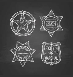 sheriff stars on blackboard vector image