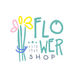 Shop flower logo template hand drawn vector