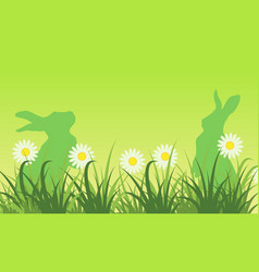 Silhouette of bunny and flower landscape vector