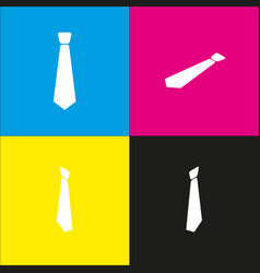 tie sign white icon with vector image