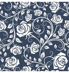 White and blue seamless pattern with roses vector