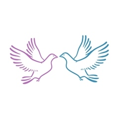 White Doves as concept Love or Peace Abstract vector image vector image