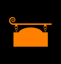 Wrought iron sign for old-fashioned design orange vector