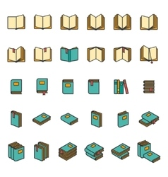 Office books and folders icons set vector