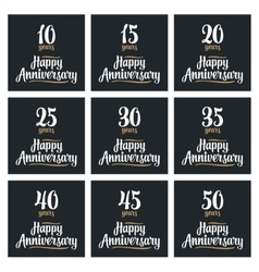 Set sign for happy anniversary vector