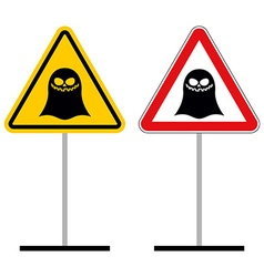 Warning sign attention ghost hazard yellow sign vector