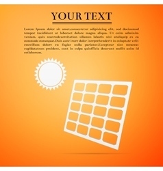 Solar energy panel flat icon on yellow background vector image