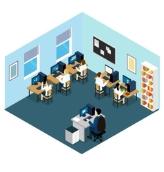 Computer class isometric layout vector