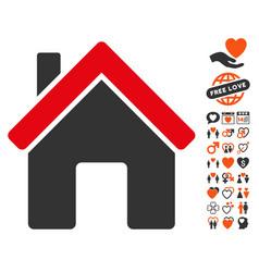 House icon with love bonus vector