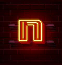 neon city font letter n signboard vector image