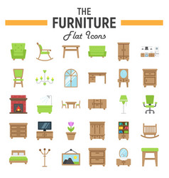 Furniture flat icon set interior sign collection vector