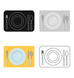 Served table icon in cartoon style isolated on vector