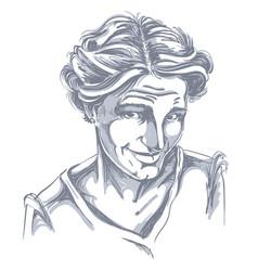 Hand-drawn of naive blameworthy woman monochrome vector