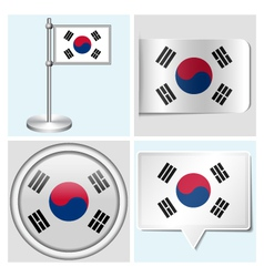 South korea flag - sticker button label vector