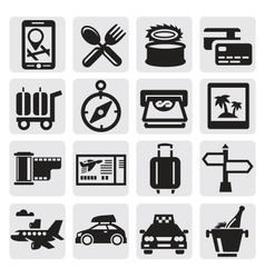 Vacation travel icon set vector