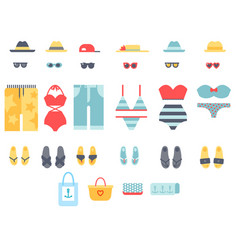 Beachwear bikini cloth fashion looks vacation vector