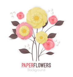 Paper flowers background with exotic flowers pink vector