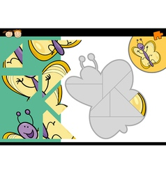 Cartoon butterfly jigsaw puzzle game vector