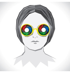 Women wear colorful shutter goggle vector