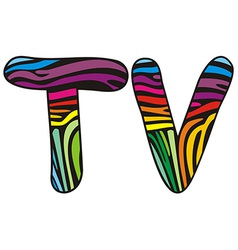 Background skin zebra shaped letter t v vector