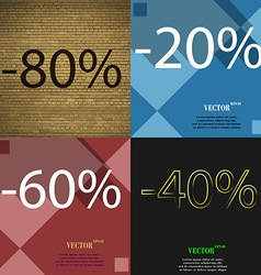 20 60 40 icon set of percent discount on abstract vector