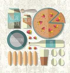 Colorful of flat design style tiramisu recip vector