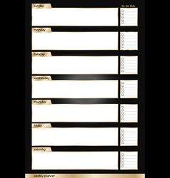 Weekly planner black and gold smart vertical vector