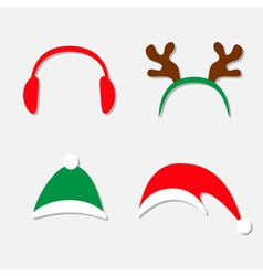 Christmas hat set antlers of a deer red headphones vector