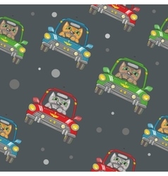 Seamless Pattern with Cat Driving a Car vector image