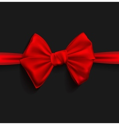 Realistic ribbon red bow vector