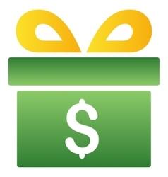 Money Gift Box Gradient Icon vector image