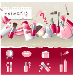 stylized cosmetics icons vector image