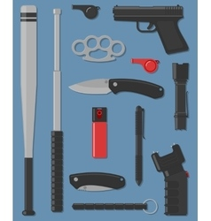 Set of self defense and street weapon vector
