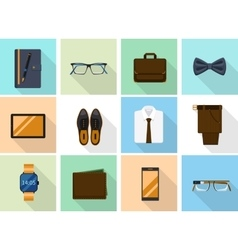 Businessman clothes and gadgets icons in flat vector image vector image
