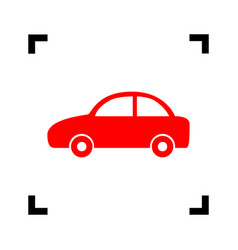 Car sign red icon inside vector