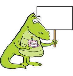Cartoon alligator holding a piece of cake and a si vector