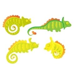 Cartoon chameleon set vector