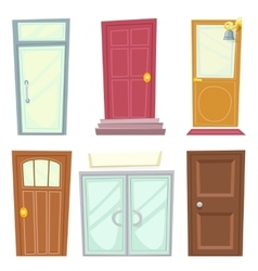 Doors Icons Set House Cartoon Design Isolated vector image