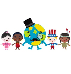 Earth and kids holding hands vector