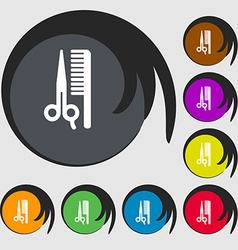 Hair icon sign symbol on eight colored buttons vector
