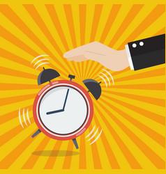 Hand turns off the alarm clock vector