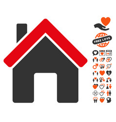 House icon with love bonus vector