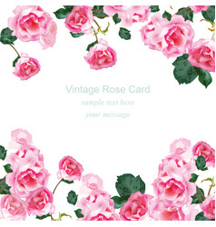 Invitation card with watercolor vintage roses vector
