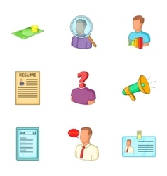 Job icons set cartoon style vector image