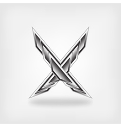 Letter x metallic symbol vector