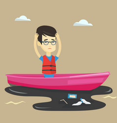 man floating in a boat in polluted water vector image