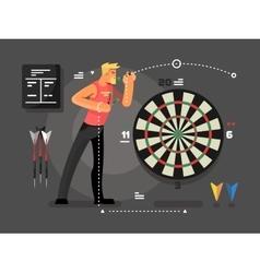 Man playing darts vector image vector image