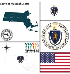 Map of Massachusetts with seal vector image vector image
